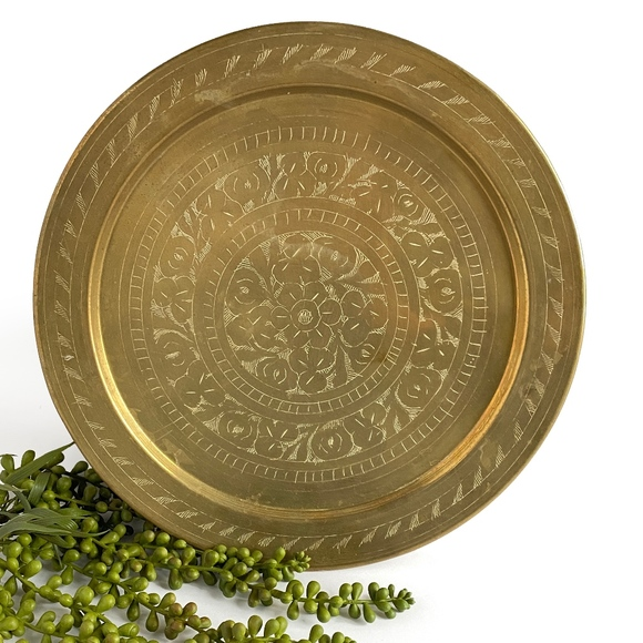 Vintage Other - Vintage Etched Brass Plate / Tray